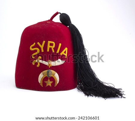 Vintage Fraternal Syrian Hat with Black Tassel - stock photo