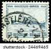 vintage french stamp, depicting an English channel passenger ferry on the route from Ostende to Dover 1946 - stock photo