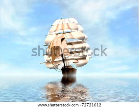 Vintage Frigate sailing into a fog bank - stock photo