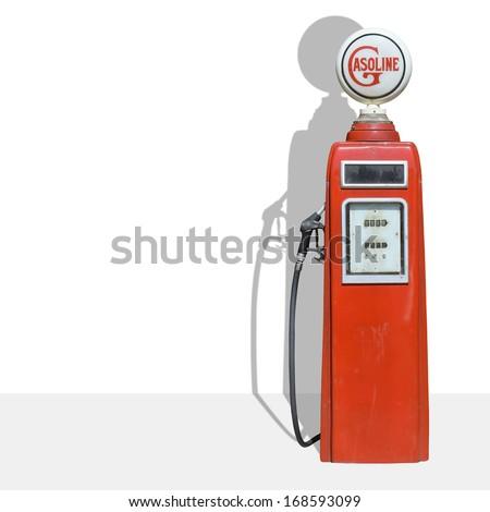 vintage fuel dispenser on white background - stock photo