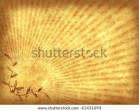 Vintage Gallery: Grunge old paper background with floral decoration in sun beams