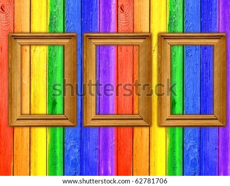 Vintage Gallery: Rainbow scrapbooking background - painted fence with tree wooden frames - stock photo