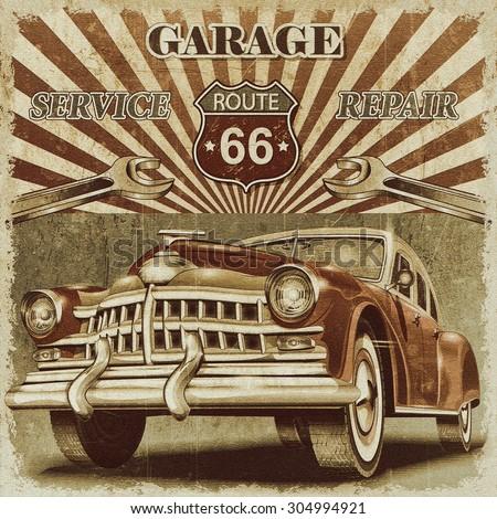 Vintage garage retro poster - stock photo