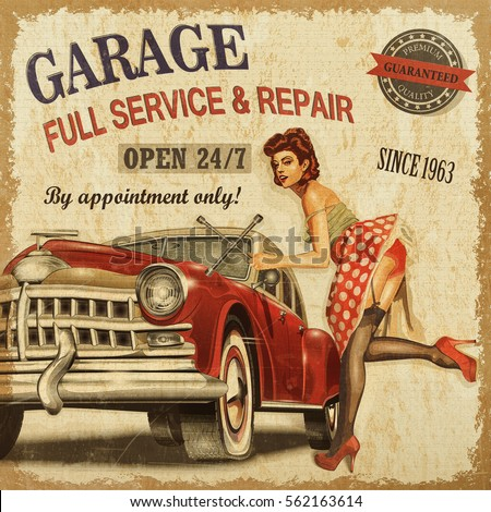 Vintage garage retro poster illustration de stock de for Imagenes retro vintage