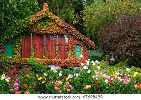 vintage garden house in butchart gardens victoria vancouver island canada