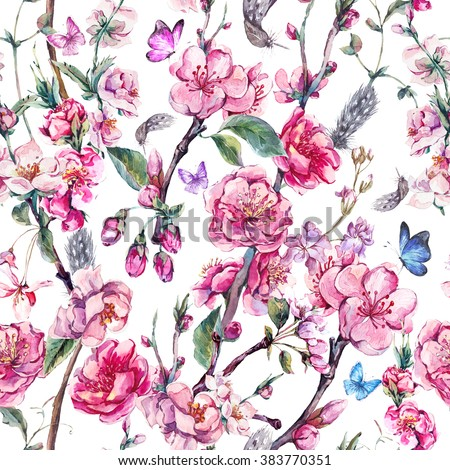 Vintage garden watercolor spring seamless background with pink flowers blooming branches of cherry, peach, pear, sakura, apple trees and butterflies, isolated botanical illustration - stock photo