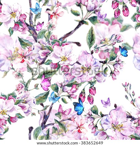 Vintage garden watercolor spring seamless background with pink flowers blooming branches of peach, pear, apple trees and butterflies, isolated botanical illustration - stock photo
