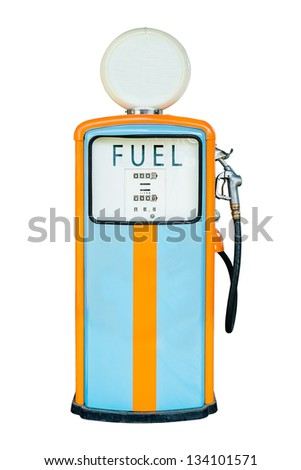 Vintage Gas dispenser isolated on white background. all logos removed - stock photo