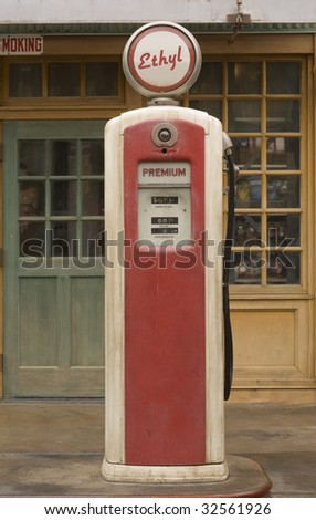 Vintage gas pump featuring ethyl gas - stock photo