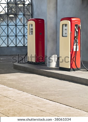 Vintage gas pumps of an old american village - stock photo