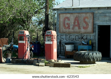 Vintage gas station - stock photo