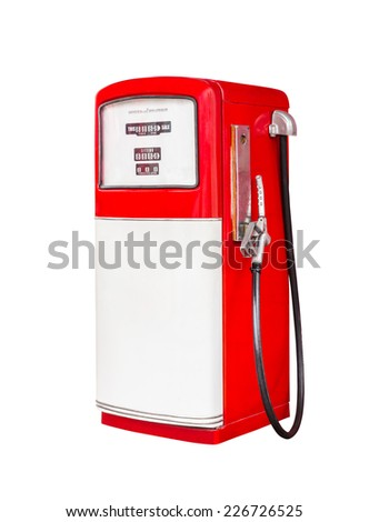 vintage gasoline fuel pump dispenser isolated with clipping path - stock photo