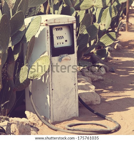 vintage gasoline pump - stock photo
