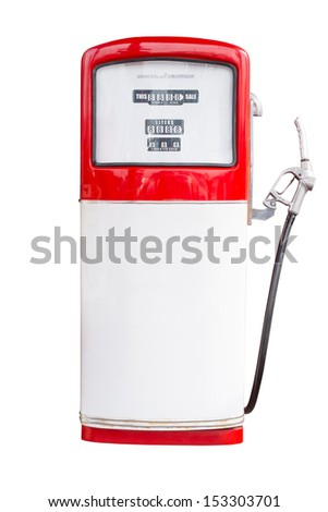 Vintage Gasoline Pump Isolated on white background with clipping path - stock photo