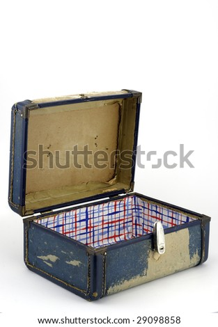 Vintage generic luggage from the 1950s, open on white - stock photo