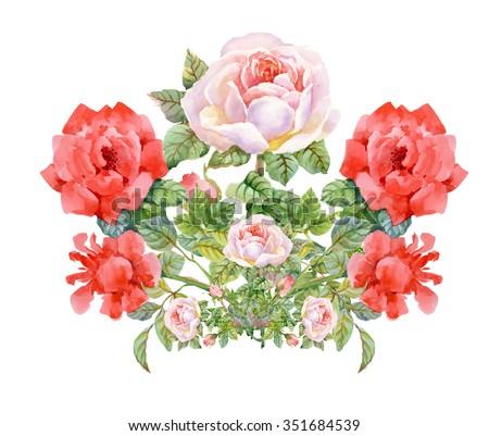 Vintage Gentle Spring Watercolor Greeting Card with Blooming Flowers. Roses, Wildflowers. - stock photo