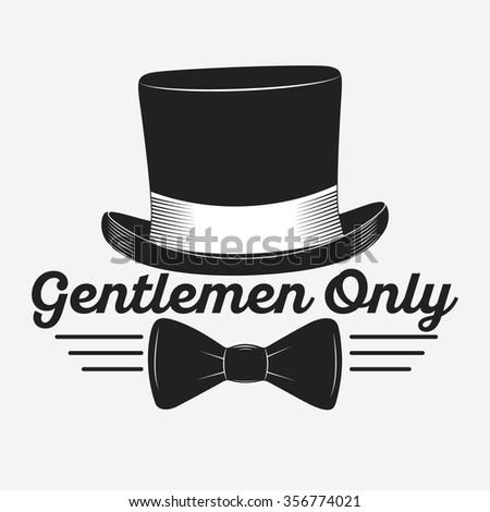 Vintage gentlemen club logo, gentlemen label, design elements for your projects, cards, invitation. Gentleman classic illustration - stock photo
