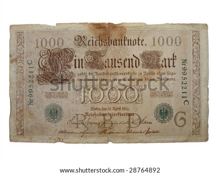 Vintage 1910 German 1000 frank bank note - stock photo
