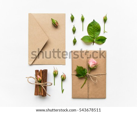 Flower gift stock images royalty free images vectors shutterstock vintage gift box and envelope in eco paper on white background presents decorated with cinnamon negle Image collections