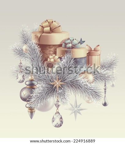 vintage gift boxes and Christmas tree ornaments, winter holiday background, New Year greeting card - stock photo