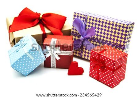 vintage gift boxes on a white  background - stock photo