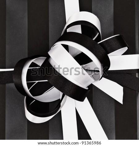 Vintage gift ribbon top closeup - stock photo