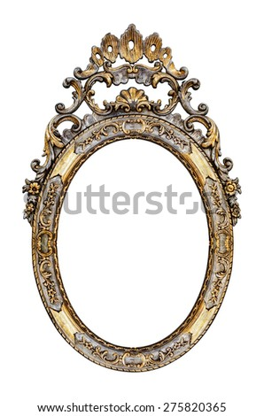 Vintage gilded frame isolated on white  - stock photo