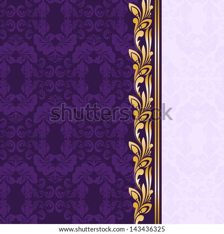 vintage gilded ornament on a purple background - stock photo