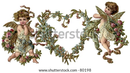 Vintage, gilded Valentine heart wreath illustration with cupids. Background digitally removed to give delicate, die-cut effect. - stock photo