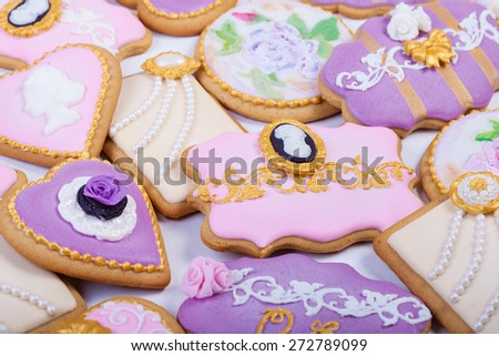 Vintage Gingerbread Fancy cookies with royal icing - stock photo