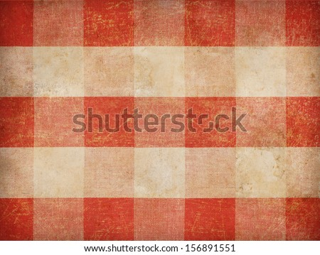 Vintage gingham tablecloth background - stock photo