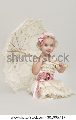 vintage girl with parasol - stock photo
