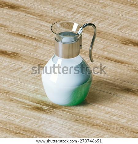 Vintage glass pitcher full of bio milk on wooden textured background. - stock photo