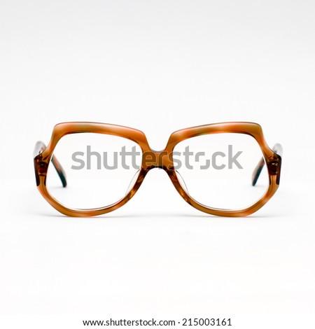 vintage glasses on isolated background - stock photo