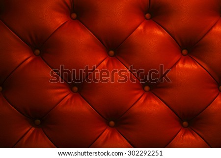 Vintage glitter red leather Sofa Button for textured background - stock photo