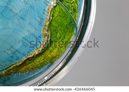 vintage globe close up macro - stock photo