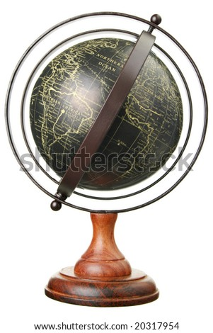 Vintage globe isolated on white - stock photo