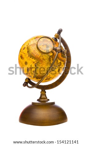 Vintage Globe with Magnifying Glass on southern Europe isolated on white - stock photo