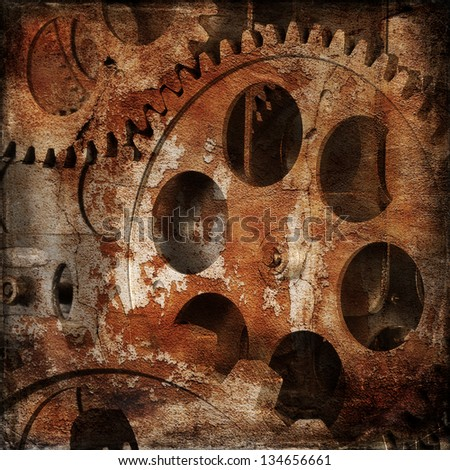 Vintage gloomy background of old clock mechanism - stock photo