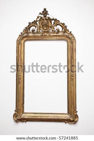 vintage gold frame - stock photo