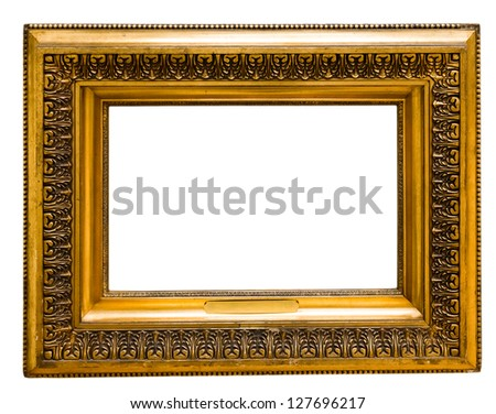 vintage gold frame, isolated on white
