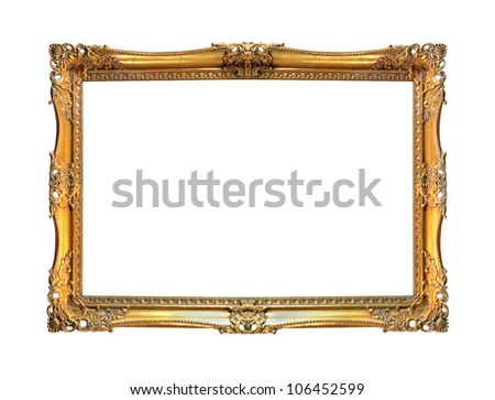 Vintage gold frame isolated with clipping path included - stock photo