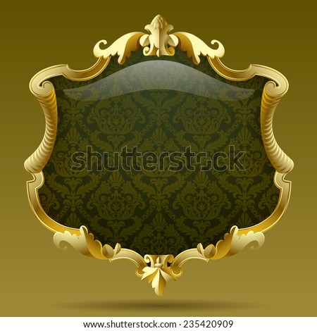 Vintage gold frame with olive baroque  ornament. Contain the Clipping Path - stock photo