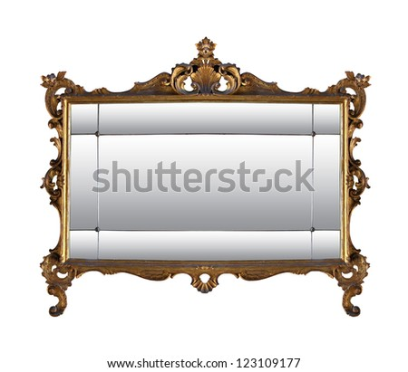 Vintage Gold Mirror Frame Isolated Clipping Stock Photo (Royalty ...