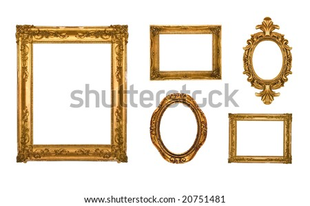 Vintage gold ornate frames, some chipped and rusty, similar available in my portfolio