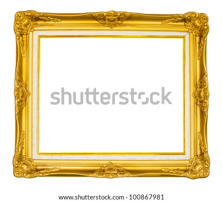 Vintage gold picture frame isolated - stock photo