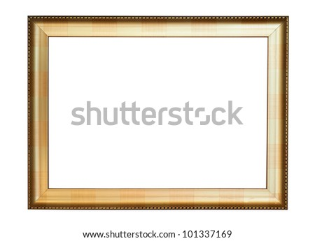 Vintage gold picture frame, isolated on white background - stock photo