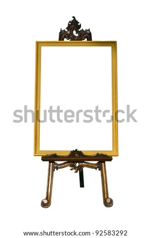 Vintage gold picture frame with wooden easel isolated on white background - stock photo
