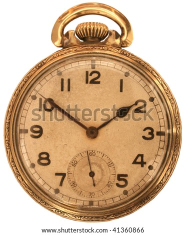 Vintage gold pocket watch. - stock photo