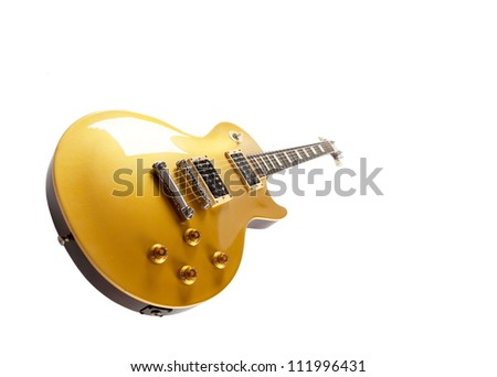 Vintage Gold top electric solid body guitar, isolated on white.  Single cutaway. - stock photo